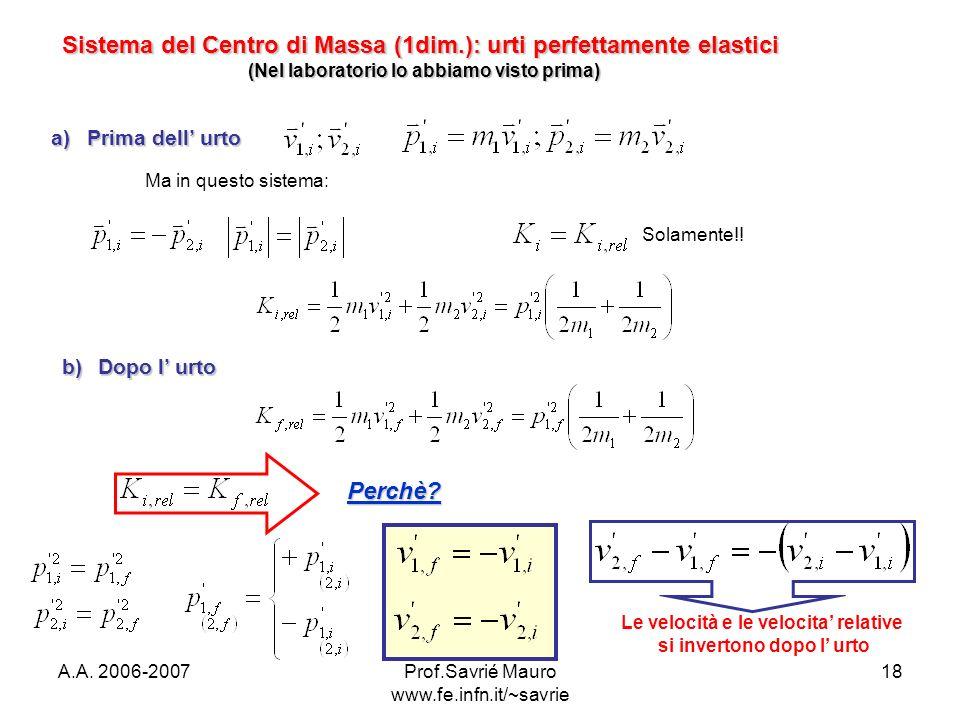 A.A. 2006-2007Prof.Savrié Mauro www.fe.infn.it/~savrie 18 Sistema del Centro di Massa (1dim.): urti perfettamente elastici (Nel laboratorio lo abbiamo