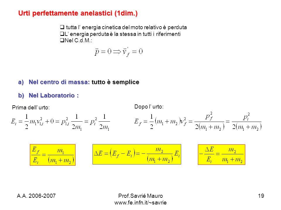 A.A. 2006-2007Prof.Savrié Mauro www.fe.infn.it/~savrie 19 Urti perfettamente anelastici (1dim.) a)Nel centro di massa: tutto è semplice b)Nel Laborato