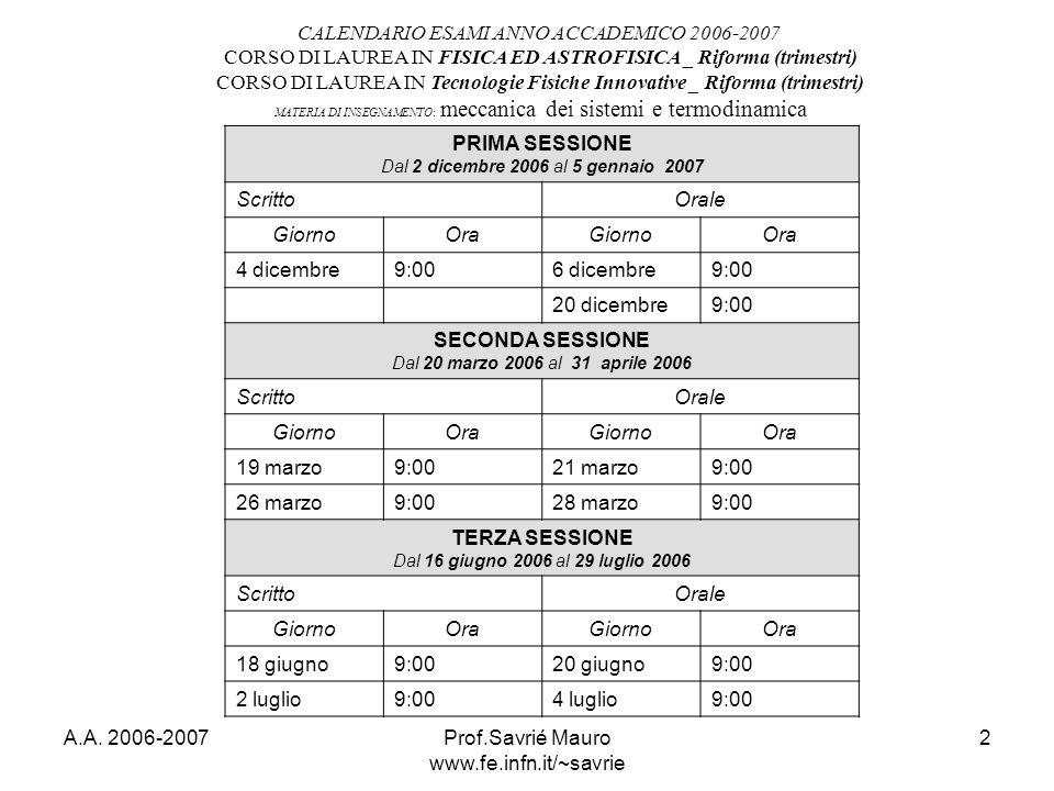 A.A. 2006-2007Prof.Savrié Mauro www.fe.infn.it/~savrie 2 CALENDARIO ESAMI ANNO ACCADEMICO 2006-2007 CORSO DI LAUREA IN FISICA ED ASTROFISICA _ Riforma