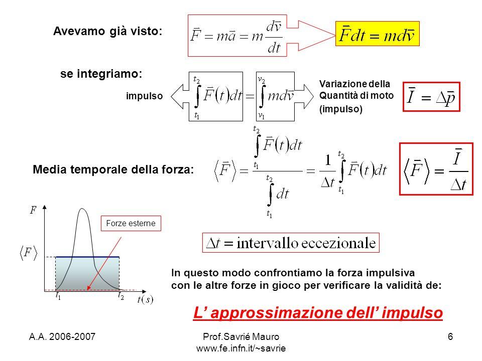 A.A. 2006-2007Prof.Savrié Mauro www.fe.infn.it/~savrie 6 Avevamo già visto: se integriamo: impulso Variazione della Quantità di moto (impulso) Media t