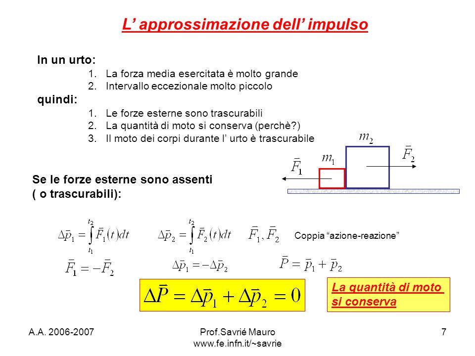A.A. 2006-2007Prof.Savrié Mauro www.fe.infn.it/~savrie 7 L approssimazione dell impulso In un urto: 1.La forza media esercitata è molto grande 2.Inter