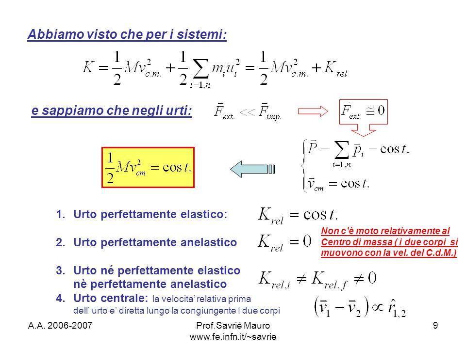 A.A. 2006-2007Prof.Savrié Mauro www.fe.infn.it/~savrie 9 Abbiamo visto che per i sistemi: e sappiamo che negli urti: 1.Urto perfettamente elastico: 2.