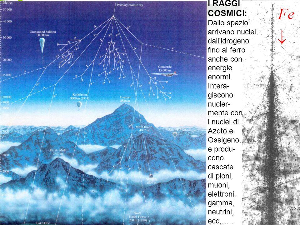4 I RAGGI COSMICI: Dallo spazio arrivano nuclei dallidrogeno fino al ferro anche con energie enormi.