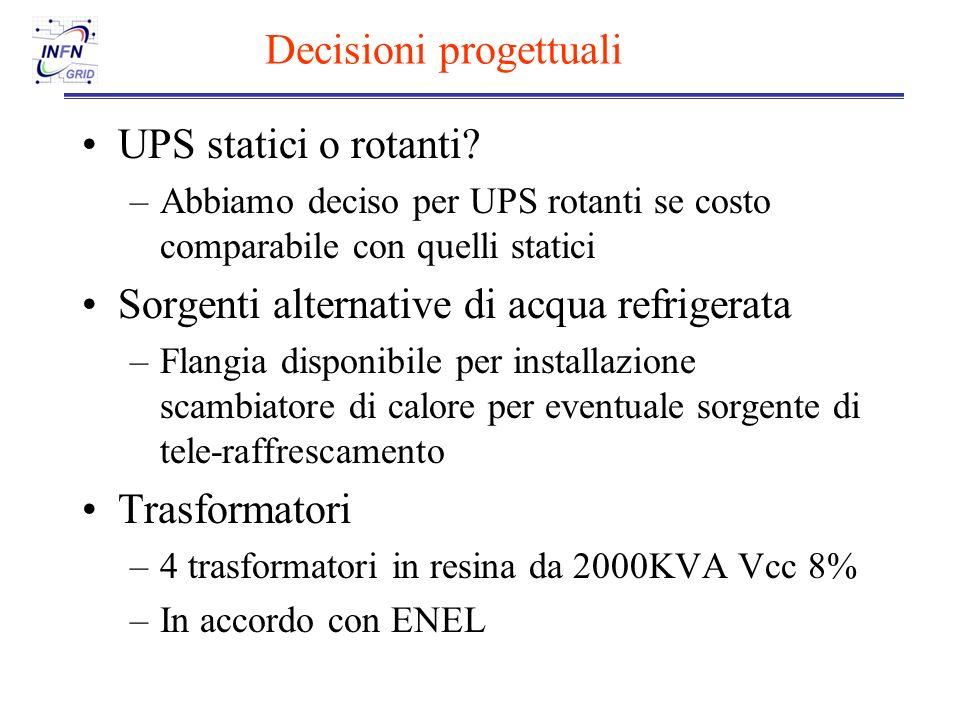Decisioni progettuali UPS statici o rotanti.