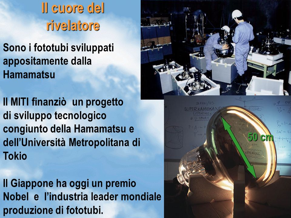 15 Il cuore del rivelatore Sono i fototubi sviluppati appositamente dalla Hamamatsu Il MITI finanziò un progetto di sviluppo tecnologico congiunto del