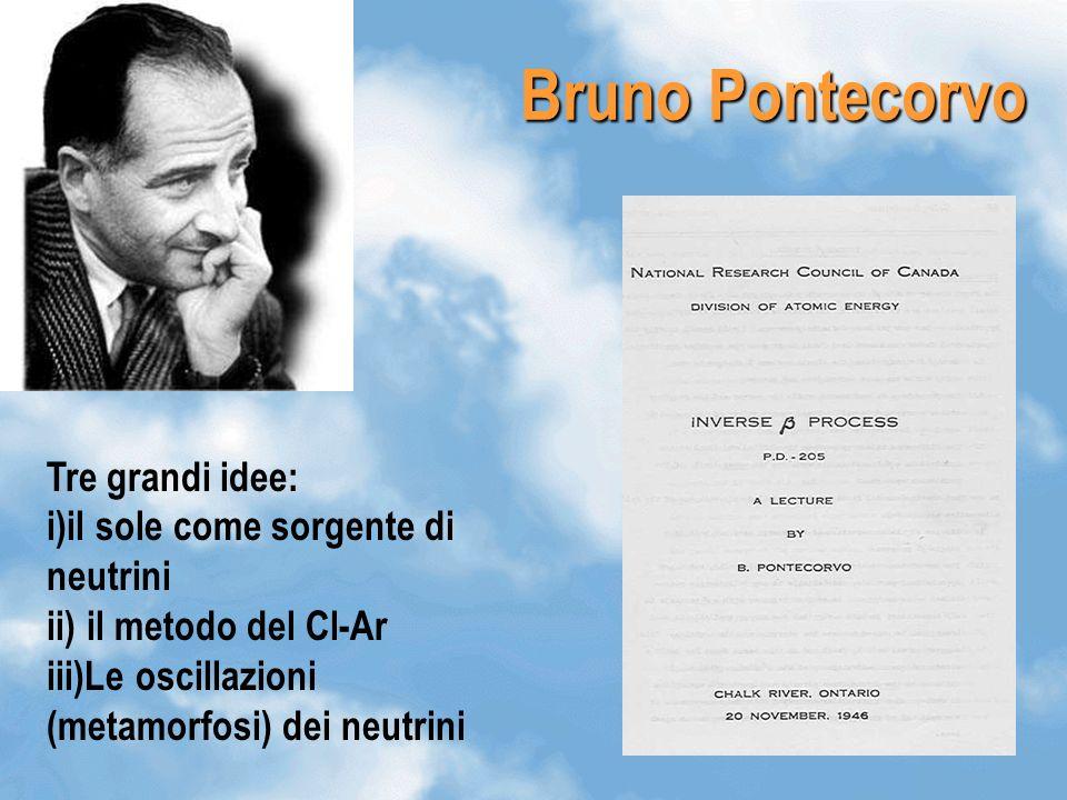 17 Bruno Pontecorvo Tre grandi idee: i)il sole come sorgente di neutrini ii) il metodo del Cl-Ar iii)Le oscillazioni (metamorfosi) dei neutrini