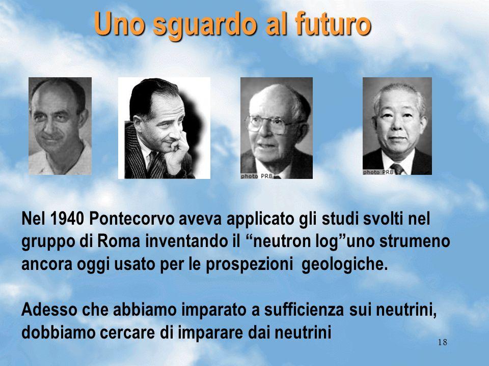 18 Uno sguardo al futuro Nel 1940 Pontecorvo aveva applicato gli studi svolti nel gruppo di Roma inventando il neutron loguno strumeno ancora oggi usa