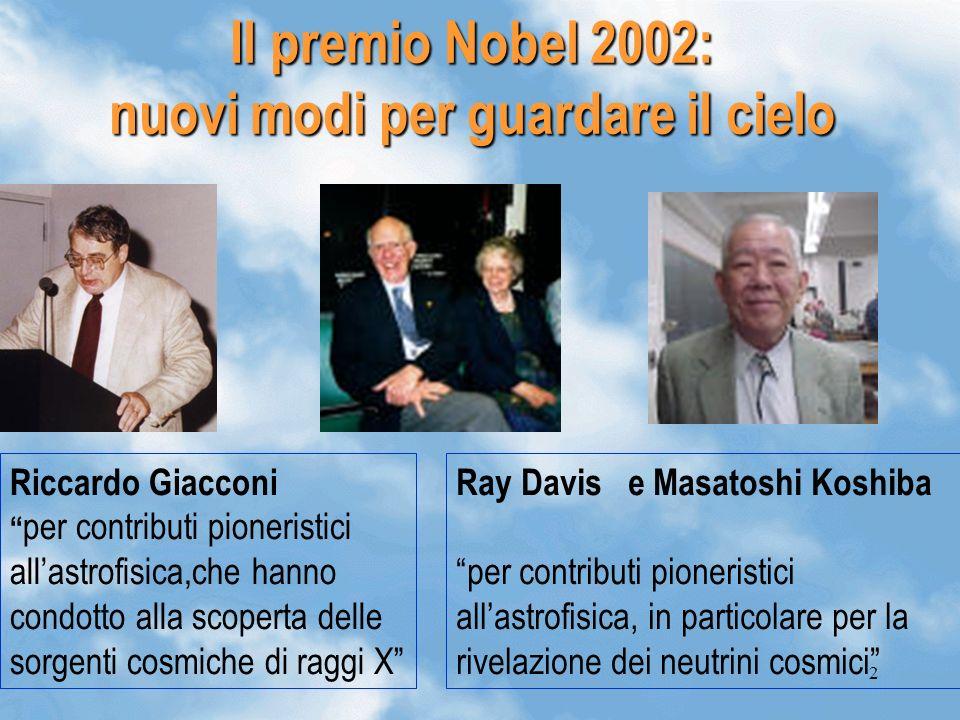 2 Il premio Nobel 2002: nuovi modi per guardare il cielo Riccardo Giacconi per contributi pioneristici allastrofisica,che hanno condotto alla scoperta