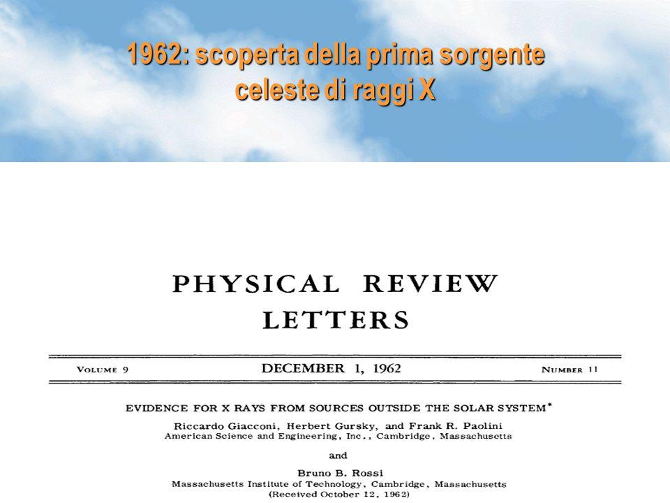 25 1962: scoperta della prima sorgente celeste di raggi X