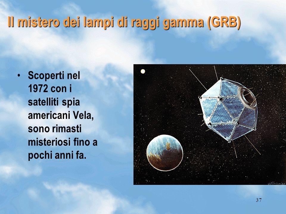37 Il mistero dei lampi di raggi gamma (GRB) Scoperti nel 1972 con i satelliti spia americani Vela, sono rimasti misteriosi fino a pochi anni fa.
