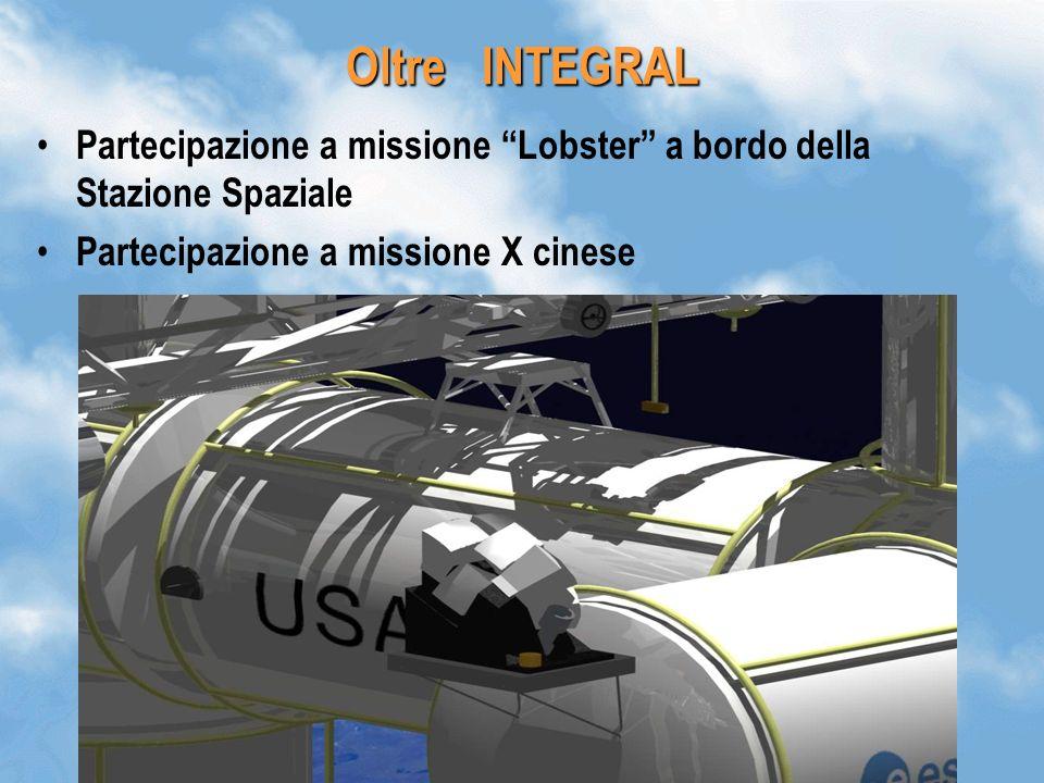 44 Oltre INTEGRAL Partecipazione a missione Lobster a bordo della Stazione Spaziale Partecipazione a missione X cinese