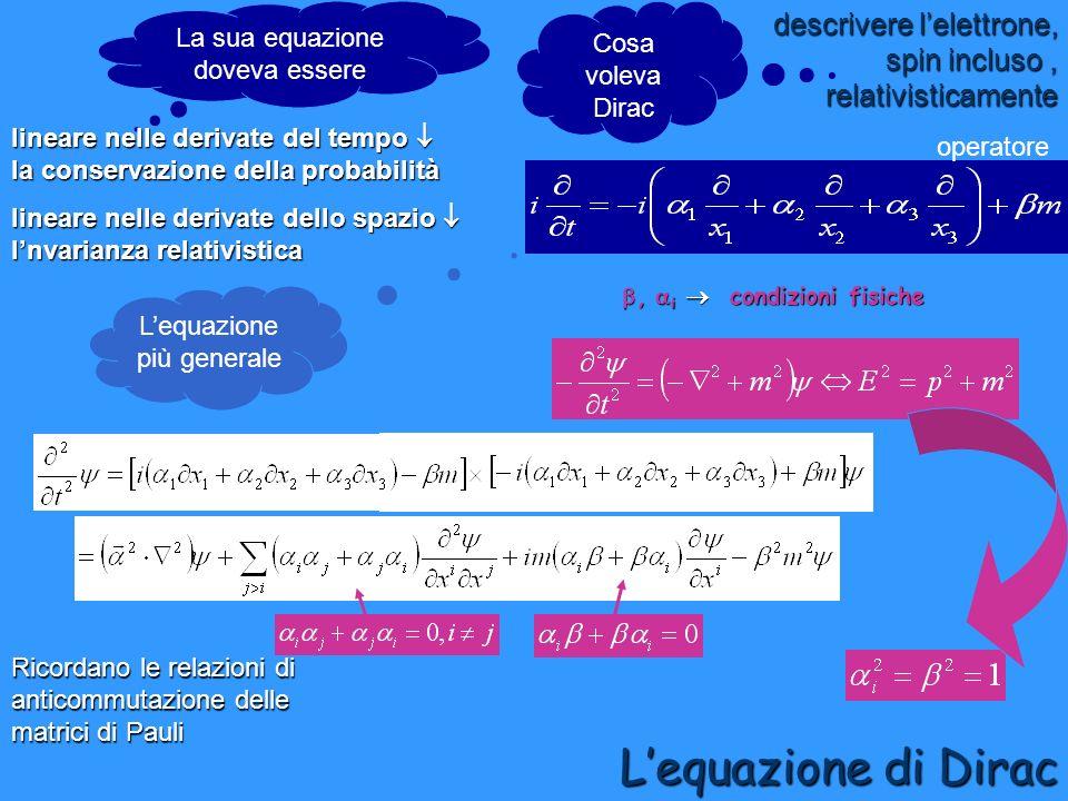 descrivere lelettrone, spin incluso, relativisticamente lineare nelle derivate dello spazio lnvarianza relativistica Cosa voleva Dirac Lequazione di D