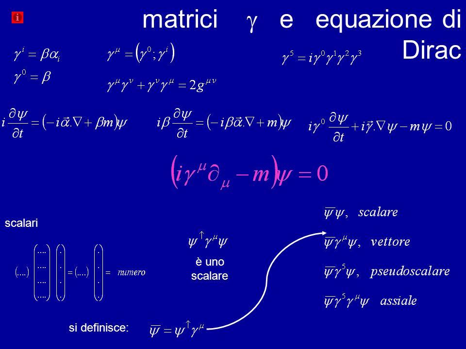 matrici e equazione di Dirac scalari si definisce: è uno scalare