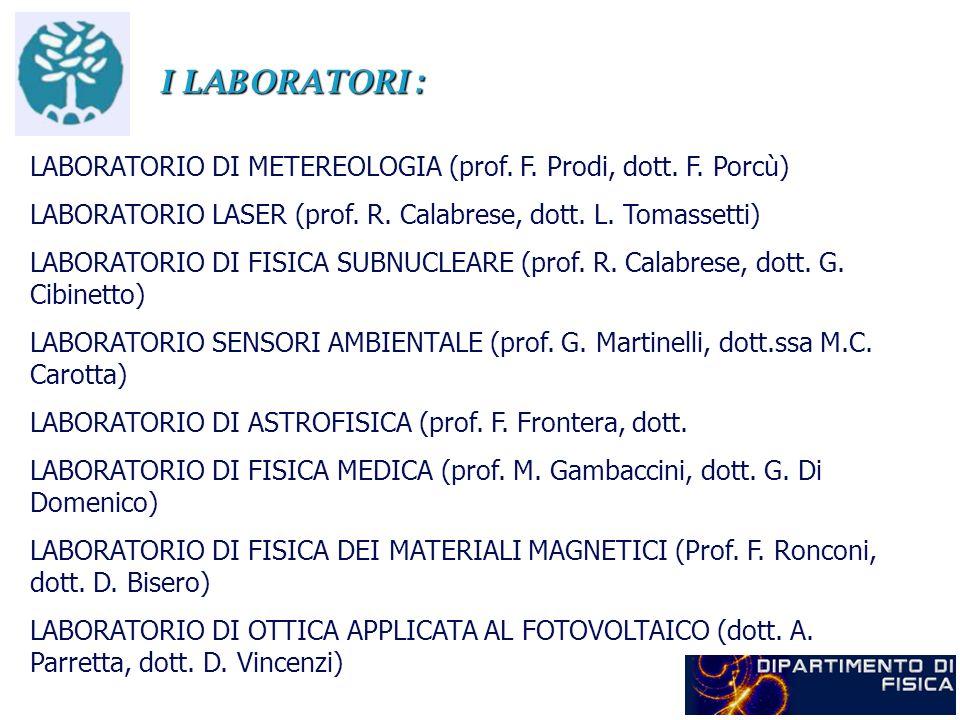 I LABORATORI : LABORATORIO DI METEREOLOGIA (prof. F. Prodi, dott. F. Porcù) LABORATORIO LASER (prof. R. Calabrese, dott. L. Tomassetti) LABORATORIO DI