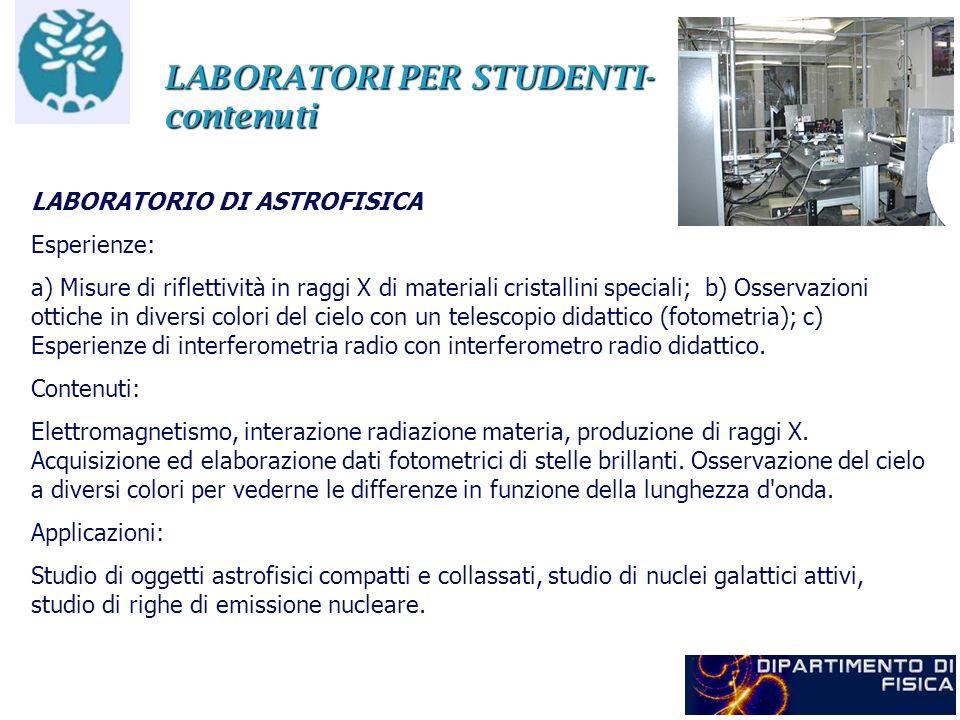 LABORATORI PER STUDENTI- contenuti LABORATORIO DI ASTROFISICA Esperienze: a) Misure di riflettività in raggi X di materiali cristallini speciali; b) O