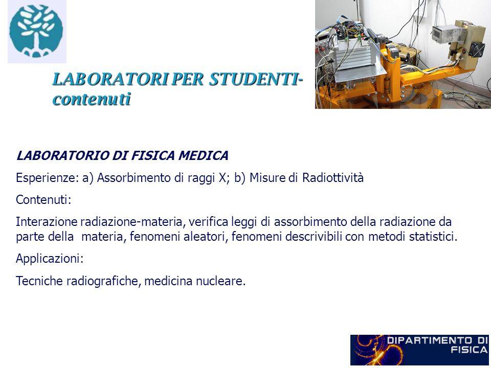 LABORATORI PER STUDENTI- contenuti LABORATORIO DI FISICA MEDICA Esperienze: a) Assorbimento di raggi X; b) Misure di Radiottività Contenuti: Interazio