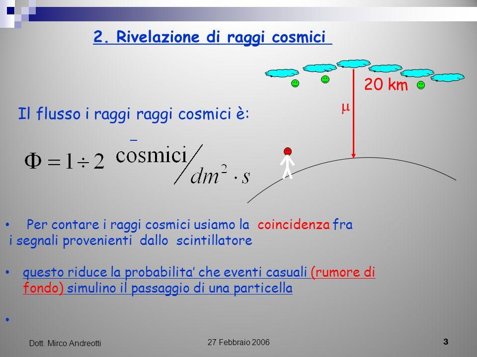 27 Febbraio 2006 3 Dott. Mirco Andreotti 2. Rivelazione di raggi cosmici 20 km Il flusso i raggi raggi cosmici è: Per contare i raggi cosmici usiamo l