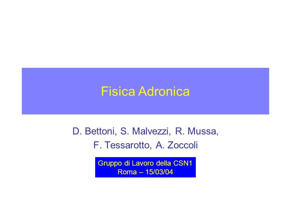 Fisica Adronica D. Bettoni, S. Malvezzi, R. Mussa, F.