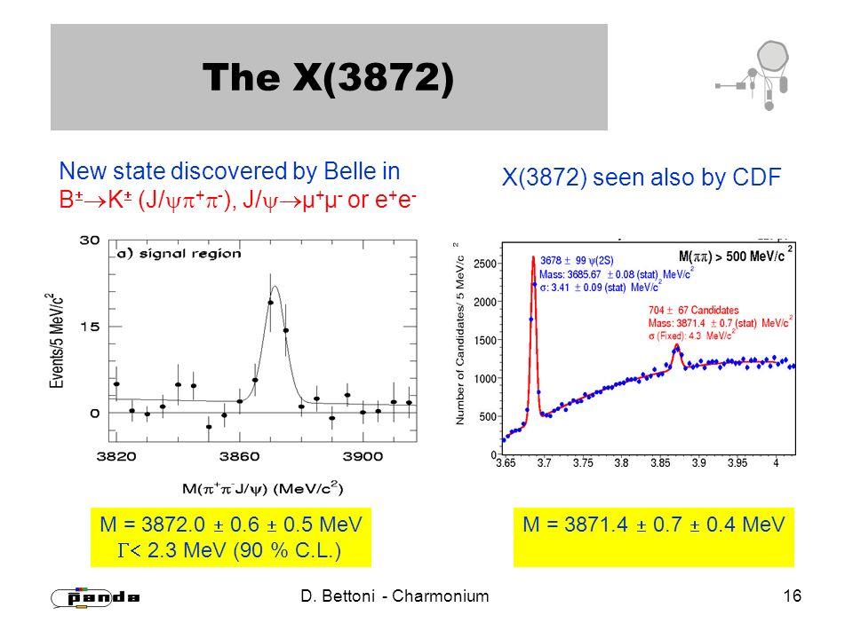 D. Bettoni - Charmonium 16 The X(3872) New state discovered by Belle in B K (J/ + - ), J/ µ + µ - or e + e - M = 3872.0 0.6 0.5 MeV 2.3 MeV (90 % C.L.