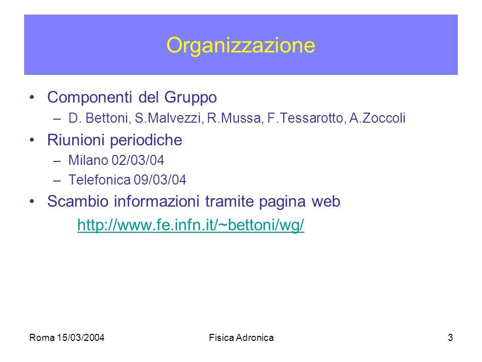Roma 15/03/2004Fisica Adronica3 Organizzazione Componenti del Gruppo –D.