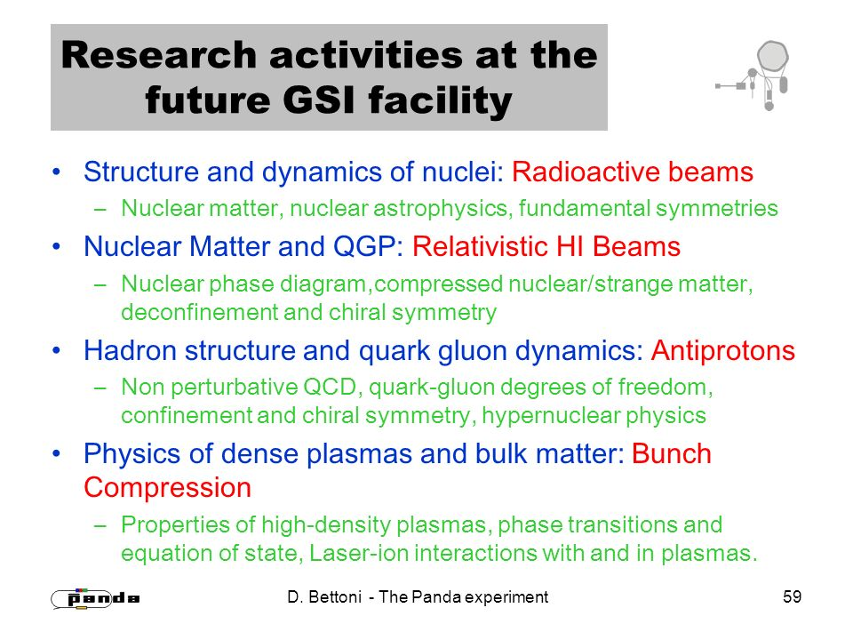 D. Bettoni - The Panda experiment 59 Research activities at the future GSI facility Structure and dynamics of nuclei: Radioactive beams –Nuclear matte