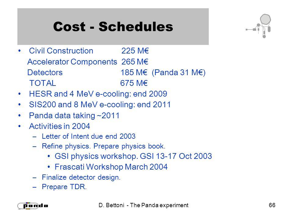 D. Bettoni - The Panda experiment 66 Cost - Schedules Civil Construction 225 M Accelerator Components 265 M Detectors 185 M (Panda 31 M) TOTAL 675 M H