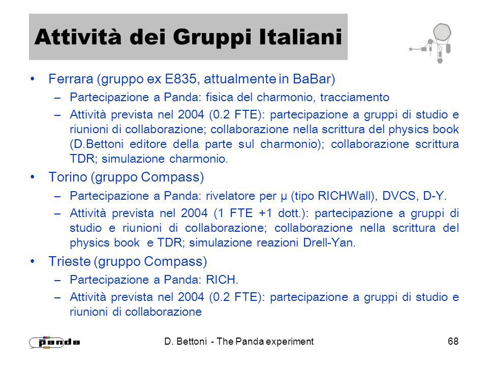 D. Bettoni - The Panda experiment 68 Attività dei Gruppi Italiani Ferrara (gruppo ex E835, attualmente in BaBar) –Partecipazione a Panda: fisica del c