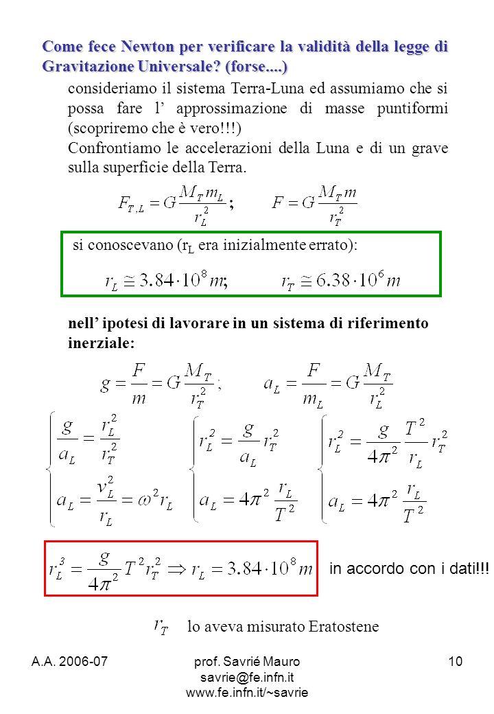 A.A. 2006-07prof. Savrié Mauro savrie@fe.infn.it www.fe.infn.it/~savrie 10 Come fece Newton per verificare la validità della legge di Gravitazione Uni