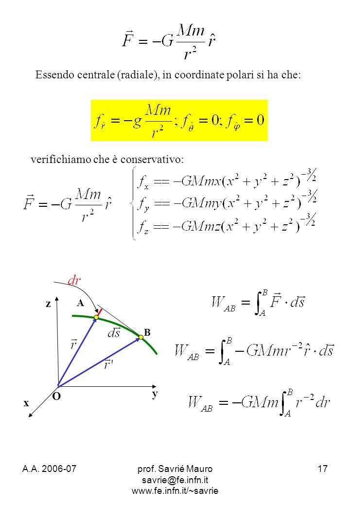 A.A. 2006-07prof. Savrié Mauro savrie@fe.infn.it www.fe.infn.it/~savrie 17 verifichiamo che è conservativo: Essendo centrale (radiale), in coordinate
