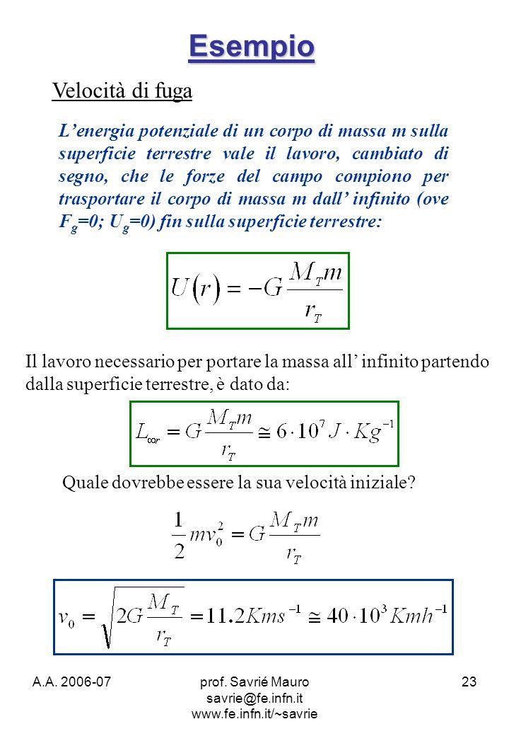 A.A. 2006-07prof. Savrié Mauro savrie@fe.infn.it www.fe.infn.it/~savrie 23 Esempio Velocità di fuga Il lavoro necessario per portare la massa all infi