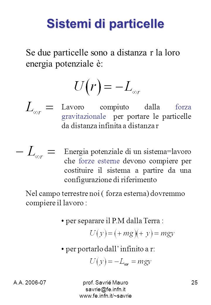 A.A. 2006-07prof. Savrié Mauro savrie@fe.infn.it www.fe.infn.it/~savrie 25 Sistemi di particelle Se due particelle sono a distanza r la loro energia p