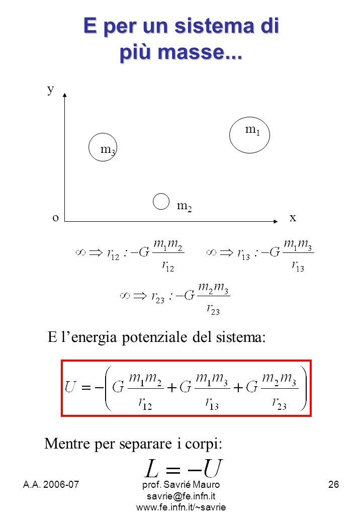 A.A. 2006-07prof. Savrié Mauro savrie@fe.infn.it www.fe.infn.it/~savrie 26 E per un sistema di più masse... m1m1 m2m2 m3m3 ox y E lenergia potenziale