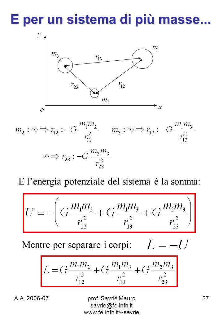 A.A. 2006-07prof. Savrié Mauro savrie@fe.infn.it www.fe.infn.it/~savrie 27 E lenergia potenziale del sistema è la somma: Mentre per separare i corpi: