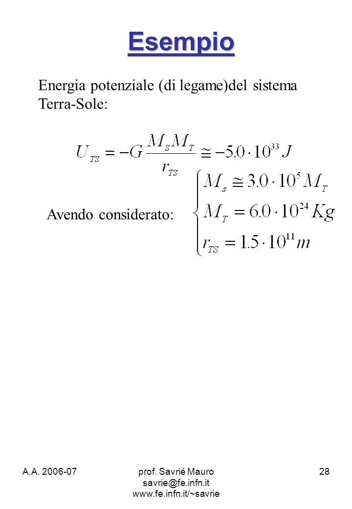 A.A. 2006-07prof. Savrié Mauro savrie@fe.infn.it www.fe.infn.it/~savrie 28 Esempio Energia potenziale (di legame)del sistema Terra-Sole: Avendo consid