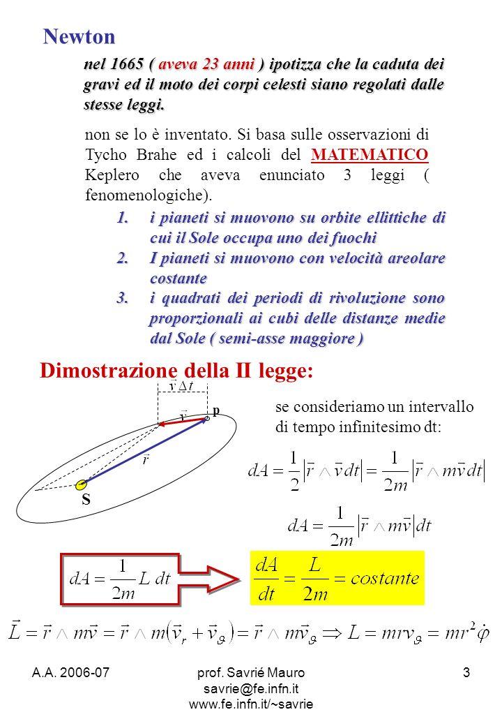 A.A. 2006-07prof. Savrié Mauro savrie@fe.infn.it www.fe.infn.it/~savrie 3 Newton nel 1665 ( aveva 23 anni ) ipotizza che la caduta dei gravi ed il mot