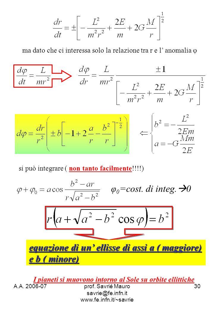 A.A. 2006-07prof. Savrié Mauro savrie@fe.infn.it www.fe.infn.it/~savrie 30 ma dato che ci interessa solo la relazione tra r e l anomalia φ si può inte