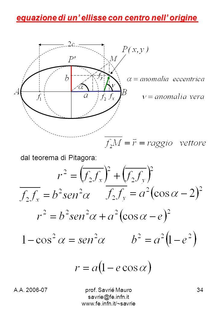 A.A. 2006-07prof. Savrié Mauro savrie@fe.infn.it www.fe.infn.it/~savrie 34 equazione di un ellisse con centro nell origine dal teorema di Pitagora: