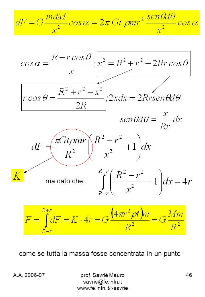 A.A. 2006-07prof. Savrié Mauro savrie@fe.infn.it www.fe.infn.it/~savrie 46 ma dato che: come se tutta la massa fosse concentrata in un punto