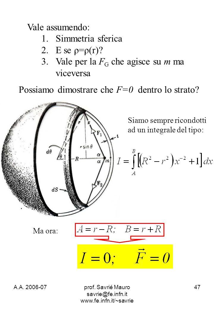 A.A. 2006-07prof. Savrié Mauro savrie@fe.infn.it www.fe.infn.it/~savrie 47 Vale assumendo: 1.Simmetria sferica 2.E se ρ=ρ(r)? 3.Vale per la F G che ag