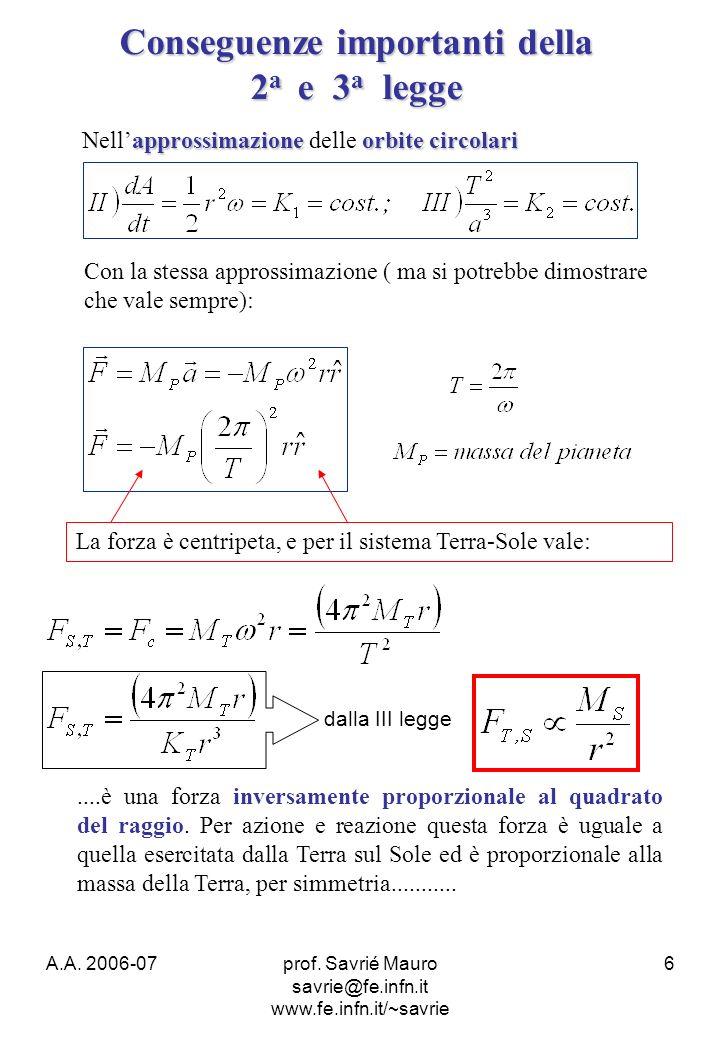 A.A. 2006-07prof. Savrié Mauro savrie@fe.infn.it www.fe.infn.it/~savrie 6 Conseguenze importanti della 2 a e 3 a legge approssimazioneorbite circolari