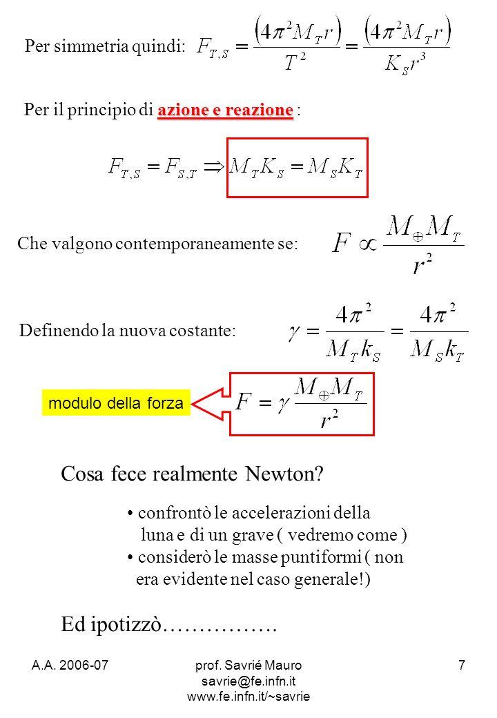 A.A. 2006-07prof. Savrié Mauro savrie@fe.infn.it www.fe.infn.it/~savrie 7 azione e reazione Per il principio di azione e reazione : Che valgono contem