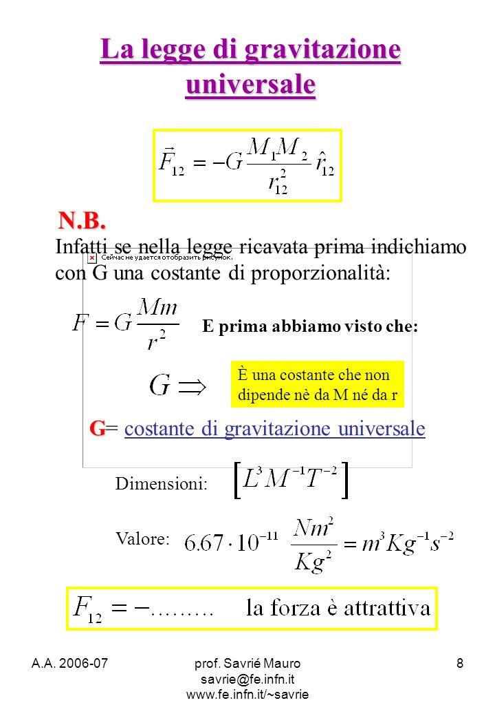 A.A. 2006-07prof. Savrié Mauro savrie@fe.infn.it www.fe.infn.it/~savrie 8 N.B. Infatti se nella legge ricavata prima indichiamo con G una costante di