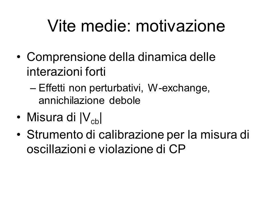 Vite medie: motivazione Comprensione della dinamica delle interazioni forti –Effetti non perturbativi, W-exchange, annichilazione debole Misura di |V