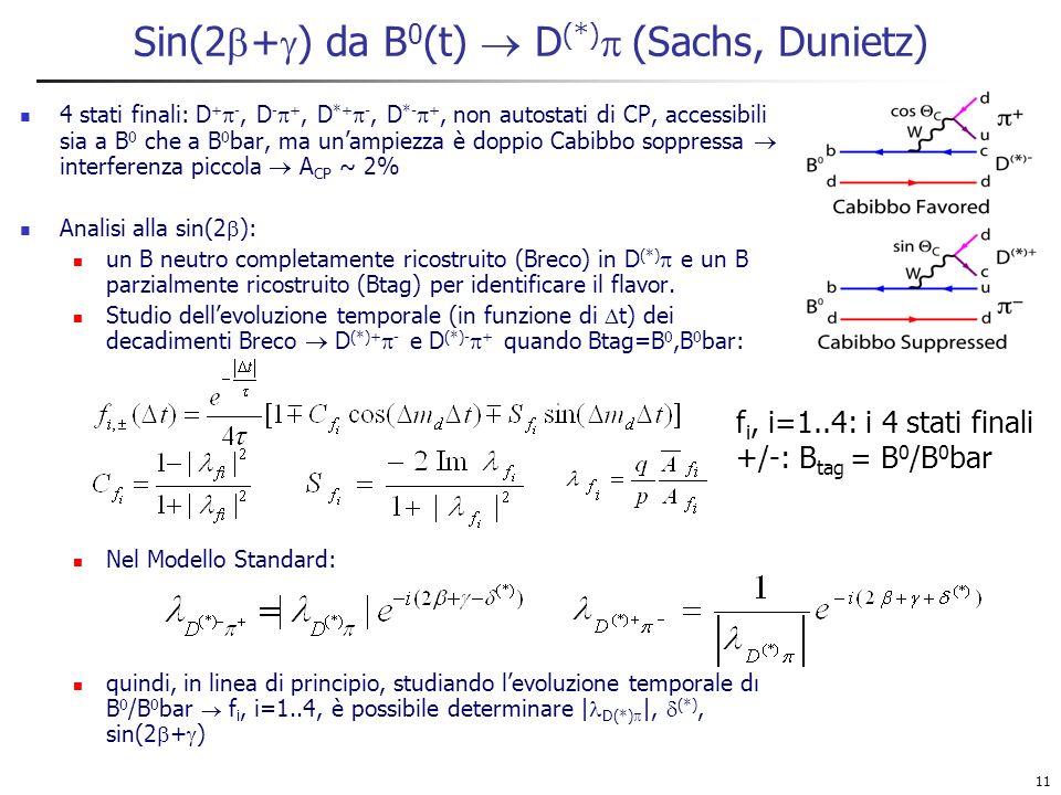 11 Sin(2 + ) da B 0 (t) D (*) (Sachs, Dunietz) 4 stati finali: D + -, D - +, D *+ -, D *- +, non autostati di CP, accessibili sia a B 0 che a B 0 bar, ma unampiezza è doppio Cabibbo soppressa interferenza piccola A CP ~ 2% Analisi alla sin(2 ): un B neutro completamente ricostruito (Breco) in D (*) e un B parzialmente ricostruito (Btag) per identificare il flavor.