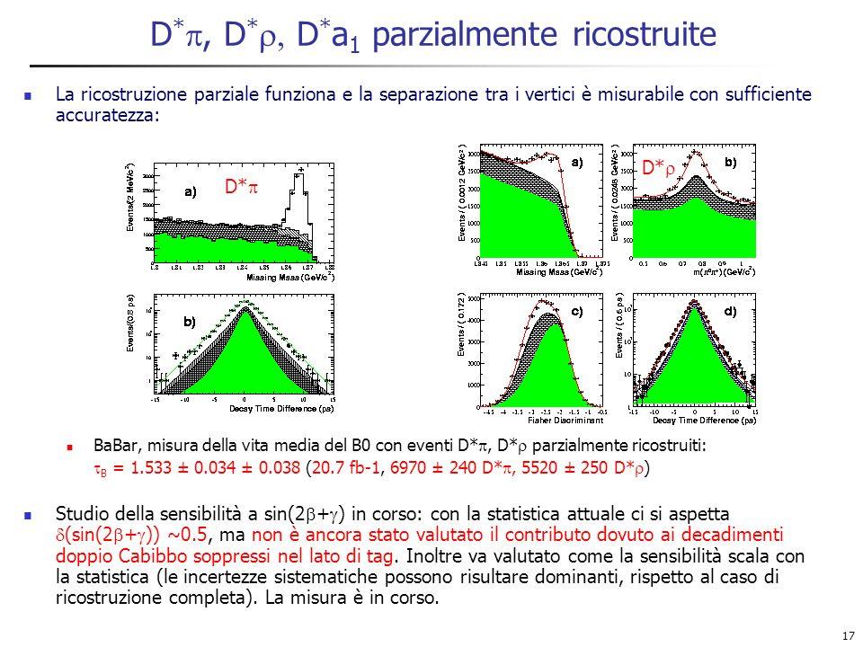 17 D *, D * D * a 1 parzialmente ricostruite La ricostruzione parziale funziona e la separazione tra i vertici è misurabile con sufficiente accuratezza: BaBar, misura della vita media del B0 con eventi D*, D* parzialmente ricostruiti: B = 1.533 ± 0.034 ± 0.038 (20.7 fb-1, 6970 ± 240 D*, 5520 ± 250 D* ) Studio della sensibilità a sin(2 + ) in corso: con la statistica attuale ci si aspetta (sin(2 + )) ~0.5, ma non è ancora stato valutato il contributo dovuto ai decadimenti doppio Cabibbo soppressi nel lato di tag.