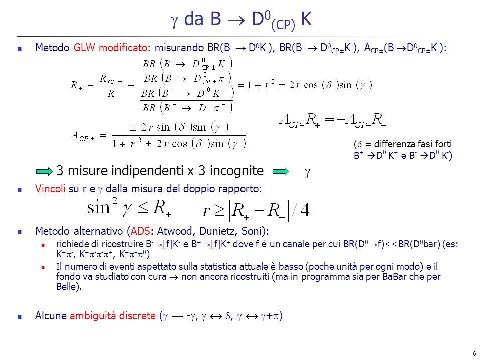 6 da B D 0 (CP) K Metodo GLW modificato: misurando BR(B - D 0 K - ), BR(B - D 0 CP± K - ), A CP± (B - D 0 CP± K - ): Vincoli su r e dalla misura del doppio rapporto: Metodo alternativo (ADS: Atwood, Dunietz, Soni): richiede di ricostruire B - [f]K - e B + [f]K + dove f è un canale per cui BR(D 0 f)<<BR(D 0 bar) (es: K + -, K + - - +, K + 0 ) Il numero di eventi aspettato sulla statistica attuale è basso (poche unità per ogni modo) e il fondo va studiato con cura non ancora ricostruiti (ma in programma sia per BaBar che per Belle).