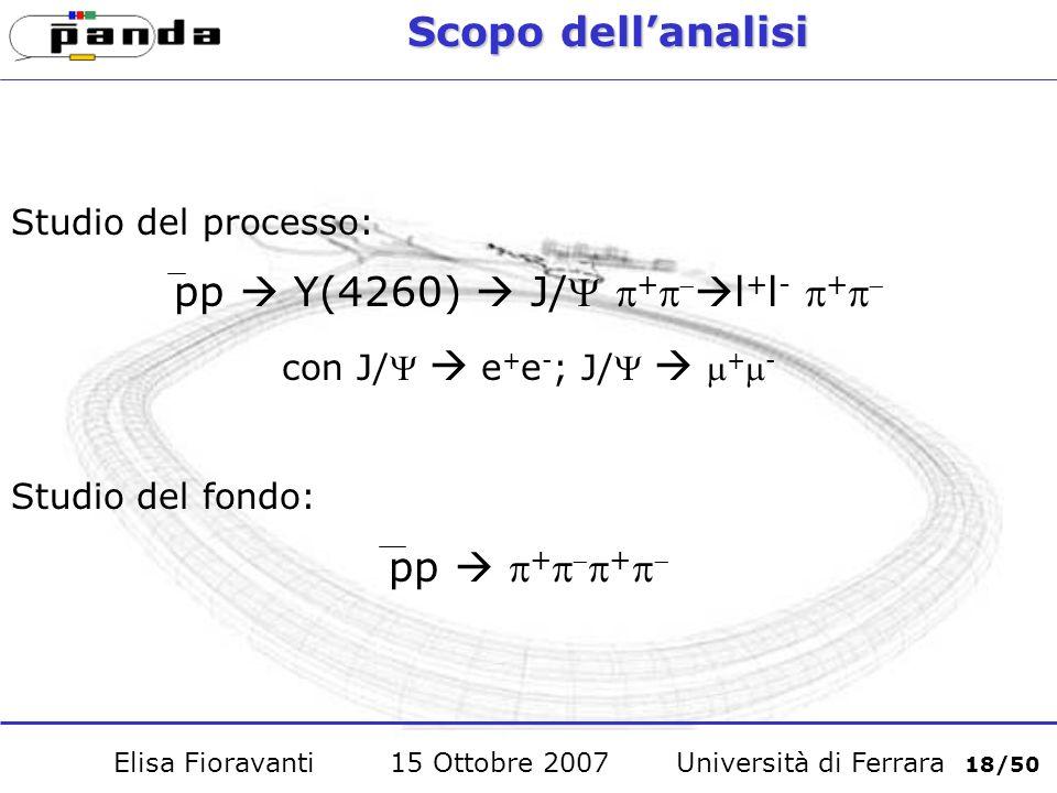 Scopo dellanalisi Studio del processo: pp Y(4260) J/ + l + l - + con J/ e + e - ; J/ + - Studio del fondo: pp + + Elisa Fioravanti 15 Ottobre 2007 Università di Ferrara 18/50