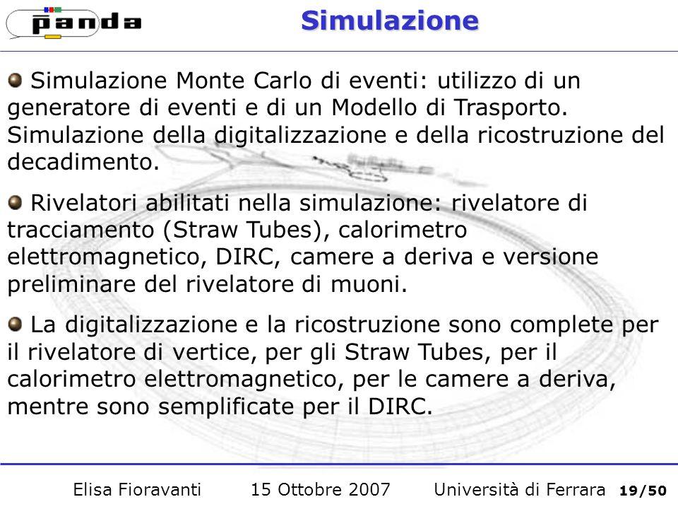 Simulazione Monte Carlo di eventi: utilizzo di un generatore di eventi e di un Modello di Trasporto.