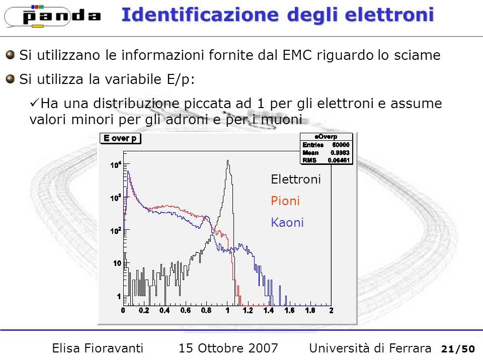 Identificazione degli elettroni Si utilizzano le informazioni fornite dal EMC riguardo lo sciame Si utilizza la variabile E/p: Ha una distribuzione piccata ad 1 per gli elettroni e assume valori minori per gli adroni e per i muoni Elisa Fioravanti 15 Ottobre 2007 Università di Ferrara 21/50 Elettroni Pioni Kaoni