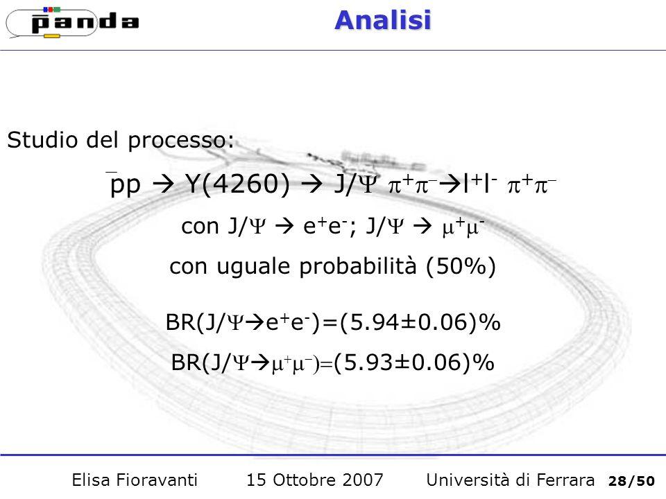 Analisi Studio del processo: pp Y(4260) J/ + l + l - + con J/ e + e - ; J/ + - con uguale probabilità (50%) BR(J/ e + e - )=(5.94±0.06)% BR(J/(5.93±0.06)% Elisa Fioravanti 15 Ottobre 2007 Università di Ferrara 28/50